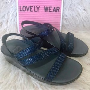 FITFLOP Navy Crystall Z Strap Wedge Sandals